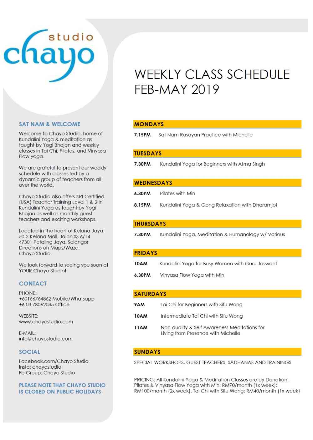 Weekly Schedule Feb to May 2019